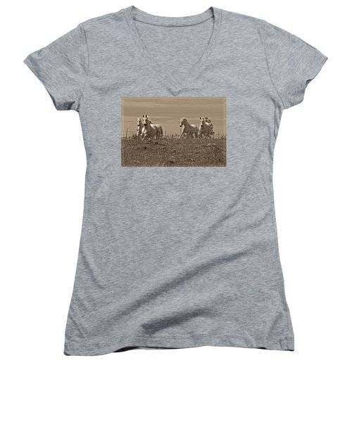 In The Field Women's V-Neck T-Shirt (Junior Cut) by Wes and Dotty Weber
