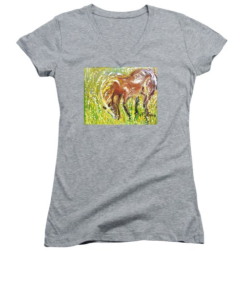 Women's V-Neck T-Shirt (Junior Cut) featuring the painting In The Field by Evelina Popilian