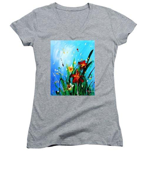 In The Garden Women's V-Neck T-Shirt (Junior Cut) by Kume Bryant