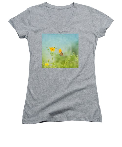 In The Garden - Monarch Butterfly Women's V-Neck