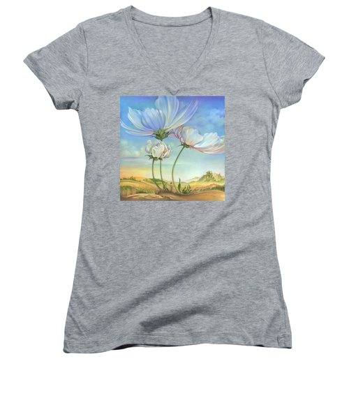 In The Half-shadow Of Wild Flowers Women's V-Neck