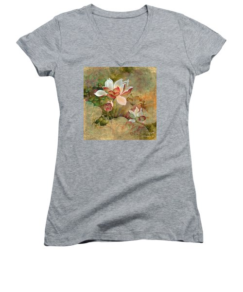In The Lotus Land Women's V-Neck