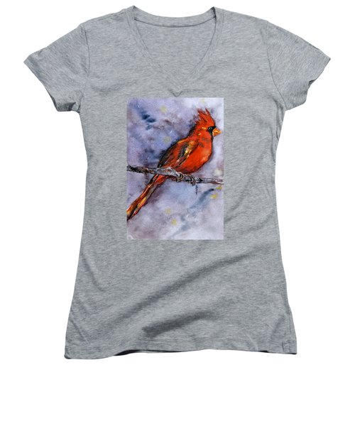 Women's V-Neck T-Shirt (Junior Cut) featuring the painting In The Moment by Beverley Harper Tinsley