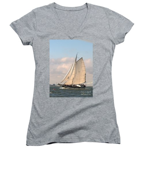 Women's V-Neck featuring the photograph In The Race by Luc Van de Steeg