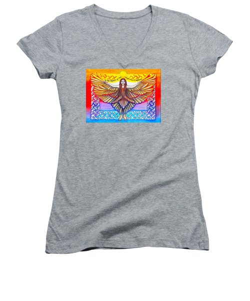 In The Shadow Of Thy Wings Psalms Women's V-Neck