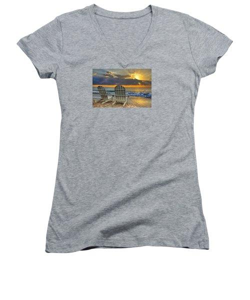 In The Spotlight Women's V-Neck T-Shirt (Junior Cut) by Debra and Dave Vanderlaan