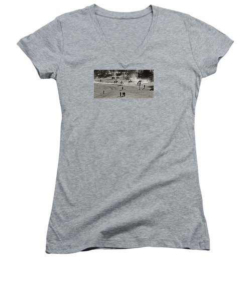 Women's V-Neck T-Shirt (Junior Cut) featuring the photograph In The Warm Up by Joan Davis