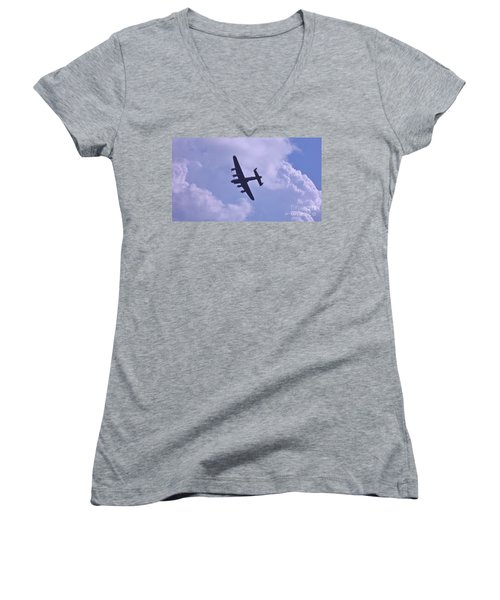 In To The Clouds Women's V-Neck T-Shirt (Junior Cut) by John Williams
