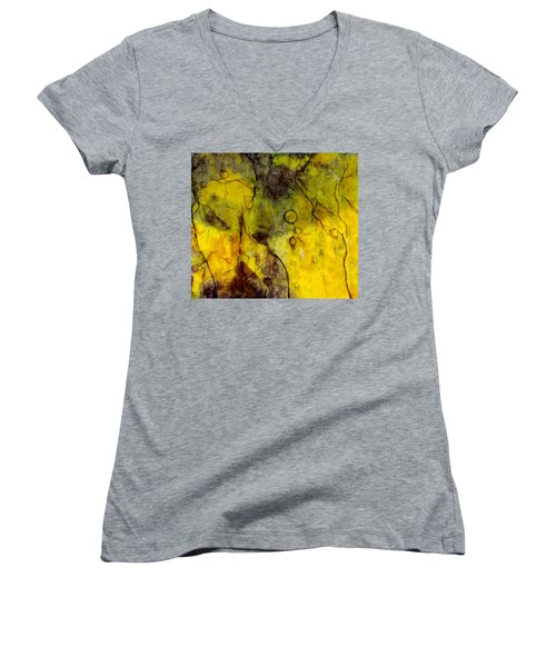 Women's V-Neck T-Shirt (Junior Cut) featuring the photograph In Yellow  by Danica Radman