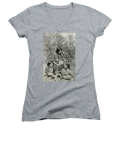 Women's V-Neck T-Shirt (Junior Cut) featuring the photograph Indian Mother With Daughters by Charles Beeler