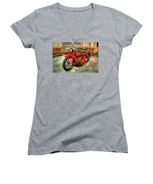 Indian Motorcycle With Sidecar Women's V-Neck