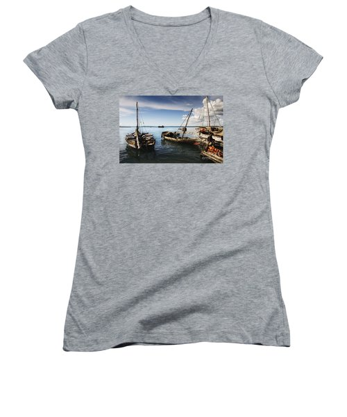 Indian Ocean Dhow At Stone Town Port Women's V-Neck (Athletic Fit)