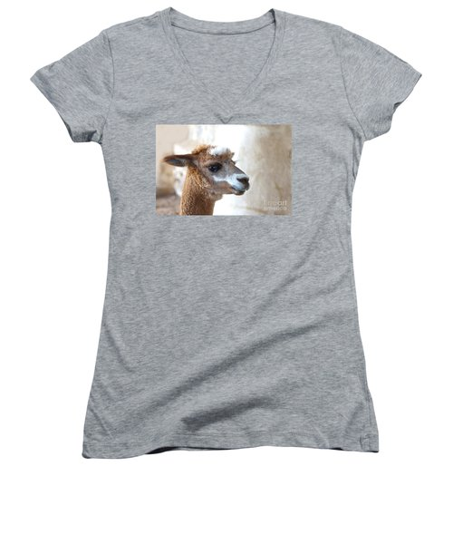 Women's V-Neck featuring the photograph Innocence by Byron Varvarigos