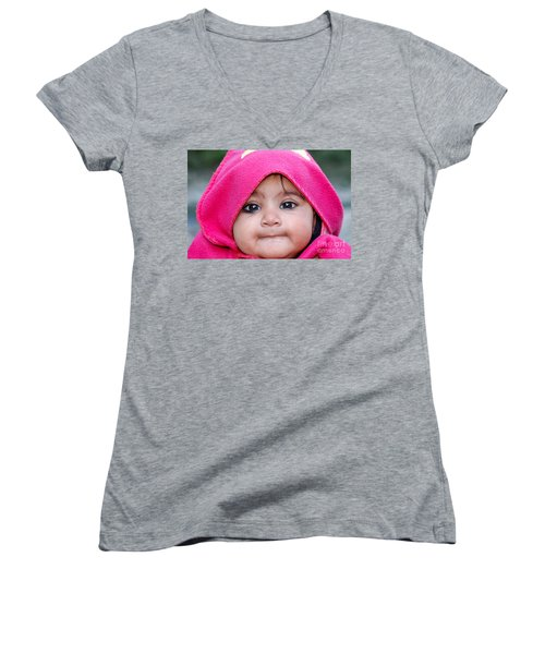 Women's V-Neck T-Shirt (Junior Cut) featuring the photograph Innocence by Fotosas Photography