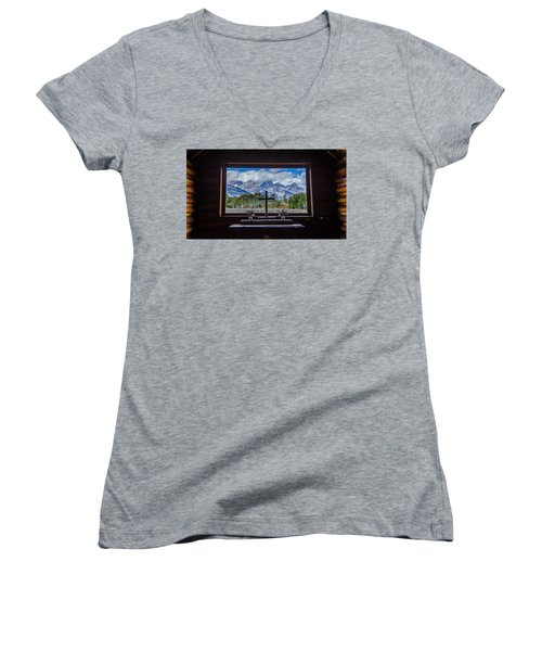 Inside Looking Out Women's V-Neck T-Shirt (Junior Cut) by Debra Martz