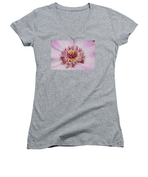 Women's V-Neck T-Shirt (Junior Cut) featuring the photograph Inside The Flower by Mike Martin
