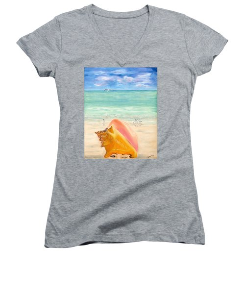 Inside The Head Of A Conch Woman Women's V-Neck