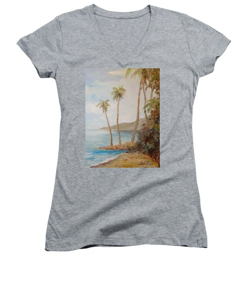 Women's V-Neck T-Shirt (Junior Cut) featuring the painting Inside The Reef by Alan Lakin
