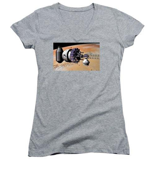 Women's V-Neck T-Shirt (Junior Cut) featuring the digital art Inspection Over Mars by David Robinson