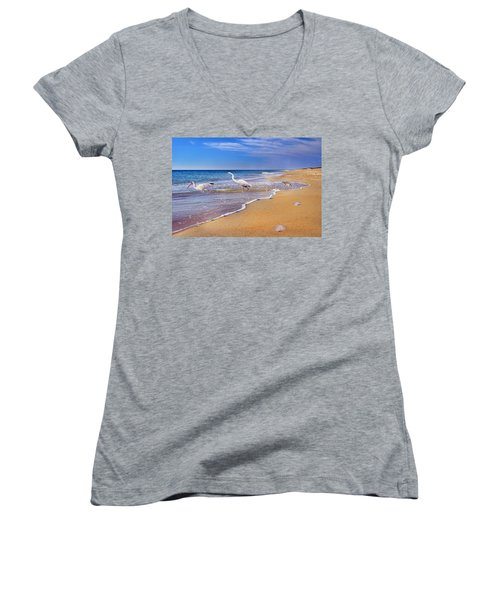 Inspiring Ibis Egret Sandpiper Starfish Sand Dollars  Women's V-Neck T-Shirt