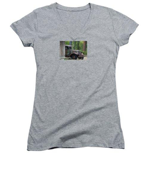 International At Cle Elum Women's V-Neck T-Shirt (Junior Cut) by Jean OKeeffe Macro Abundance Art
