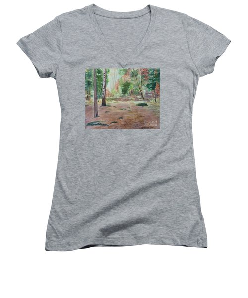 Into The Forest Women's V-Neck T-Shirt (Junior Cut) by Martin Howard