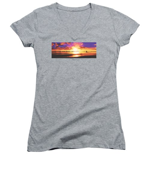 Into The Sunset Women's V-Neck
