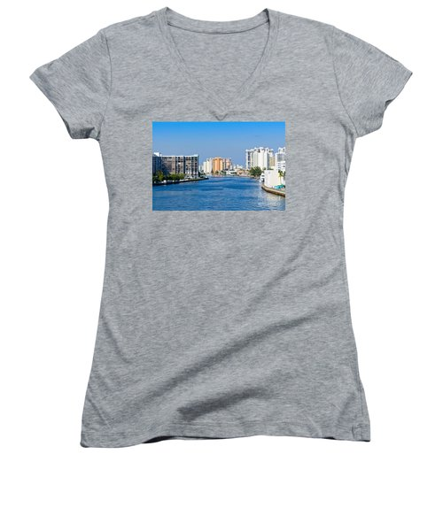 Intracoastal Waterway In Hollywood Florida Women's V-Neck T-Shirt (Junior Cut) by Les Palenik