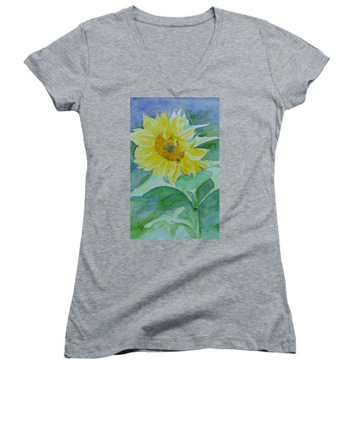 Inviting Sunflower Small Sunflower Art Women's V-Neck T-Shirt