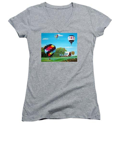 Iowa Balloons Women's V-Neck T-Shirt (Junior Cut) by Phyllis Kaltenbach