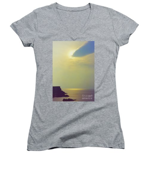 Ireland Giant's Causeway Ethereal Light Women's V-Neck T-Shirt (Junior Cut) by First Star Art