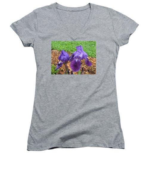 Women's V-Neck T-Shirt (Junior Cut) featuring the photograph Iris After Rain by Katie Wing Vigil