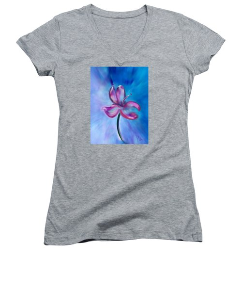 Women's V-Neck T-Shirt (Junior Cut) featuring the digital art Iris In Pastel by Frank Bright
