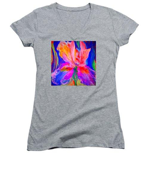 Funky Iris Flower Women's V-Neck T-Shirt