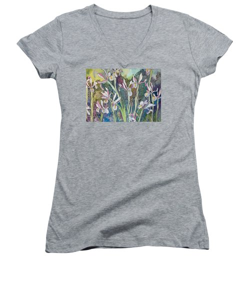 Irises And Doodles Women's V-Neck T-Shirt
