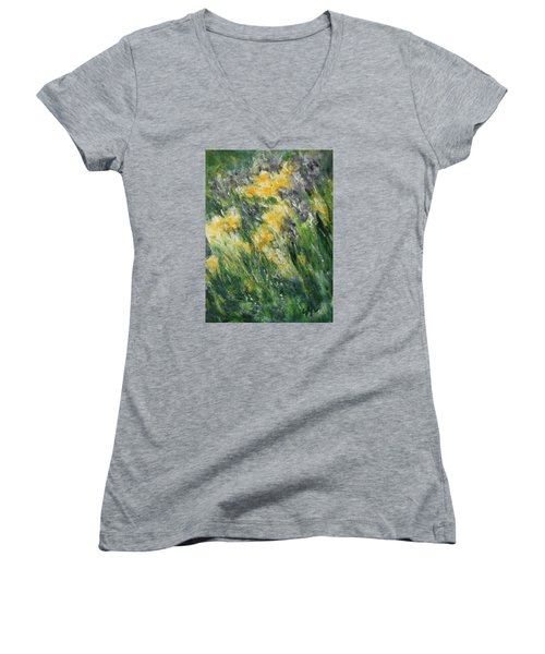 Women's V-Neck T-Shirt (Junior Cut) featuring the painting Irises by Jane See