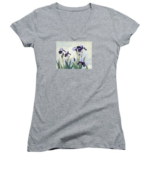 Irises Purple Flowers Painting Floral K. Joann Russell                                           Women's V-Neck T-Shirt