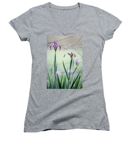 Irises2 Women's V-Neck (Athletic Fit)