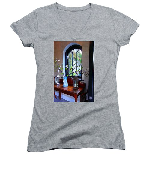 Women's V-Neck T-Shirt (Junior Cut) featuring the photograph Irish Elegance by Charlie and Norma Brock