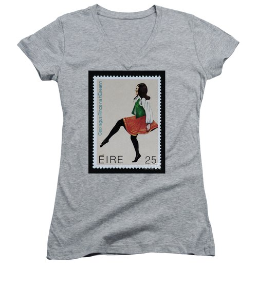 Irish Music And Dance Postage Stamp Print Women's V-Neck T-Shirt (Junior Cut) by Andy Prendy