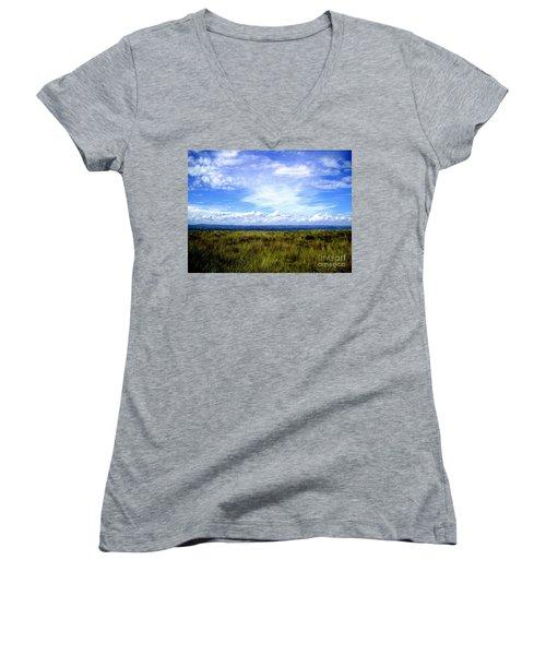 Irish Sky Women's V-Neck T-Shirt (Junior Cut) by Nina Ficur Feenan