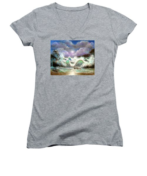 Women's V-Neck T-Shirt (Junior Cut) featuring the painting Irresistible Force  by Patrice Torrillo
