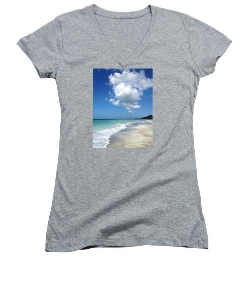 Island Escape  Women's V-Neck T-Shirt (Junior Cut) by Margie Amberge