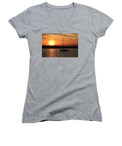 Island Heights Sunset Women's V-Neck T-Shirt (Junior Cut) by Brian Hughes