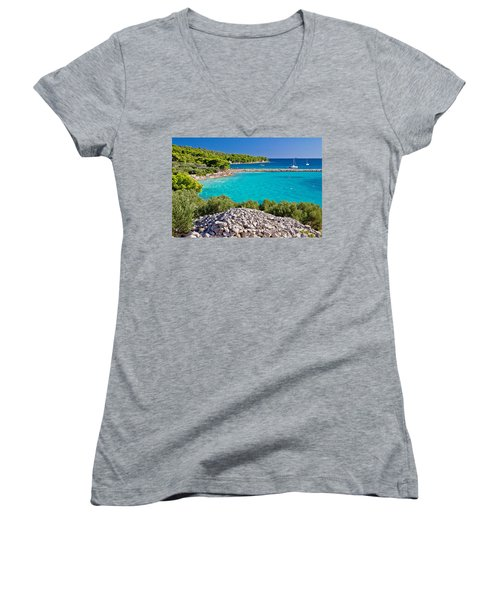 Island Murter Turquoise Lagoon Beach Women's V-Neck T-Shirt (Junior Cut) by Brch Photography