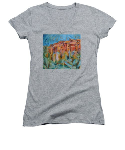 Isola Di Piante Small Italy Women's V-Neck T-Shirt (Junior Cut)