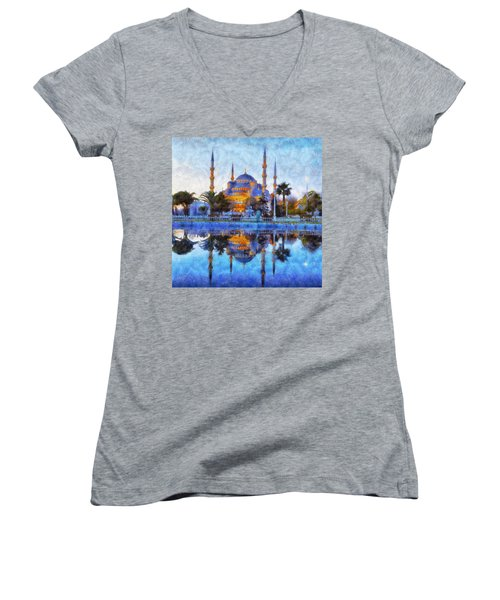 Istanbul Blue Mosque  Women's V-Neck T-Shirt (Junior Cut) by Lilia D