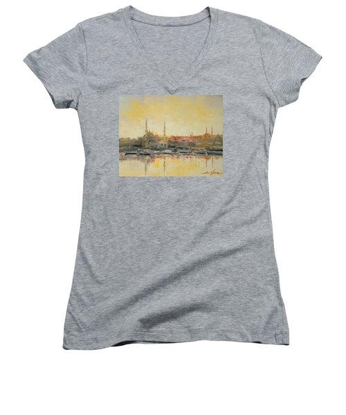 Istanbul- Hagia Sophia Women's V-Neck (Athletic Fit)