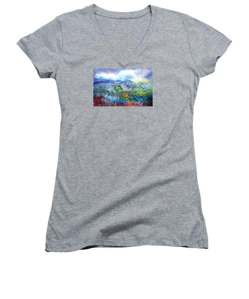 It Sometimes Rains In Tuscany Too  Women's V-Neck T-Shirt (Junior Cut) by Trudi Doyle