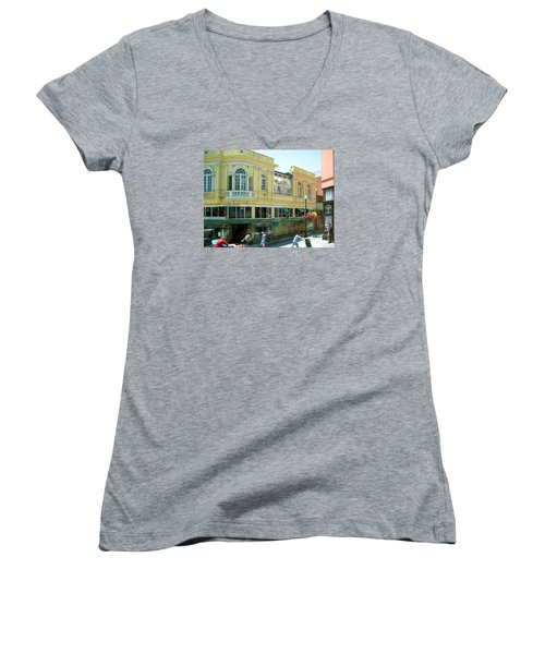 Italian Town In San Francisco Women's V-Neck T-Shirt (Junior Cut) by Connie Fox